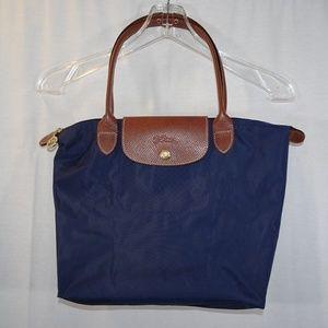 LONGCHAMP Le Pliage Shopping Navy Blue Leather